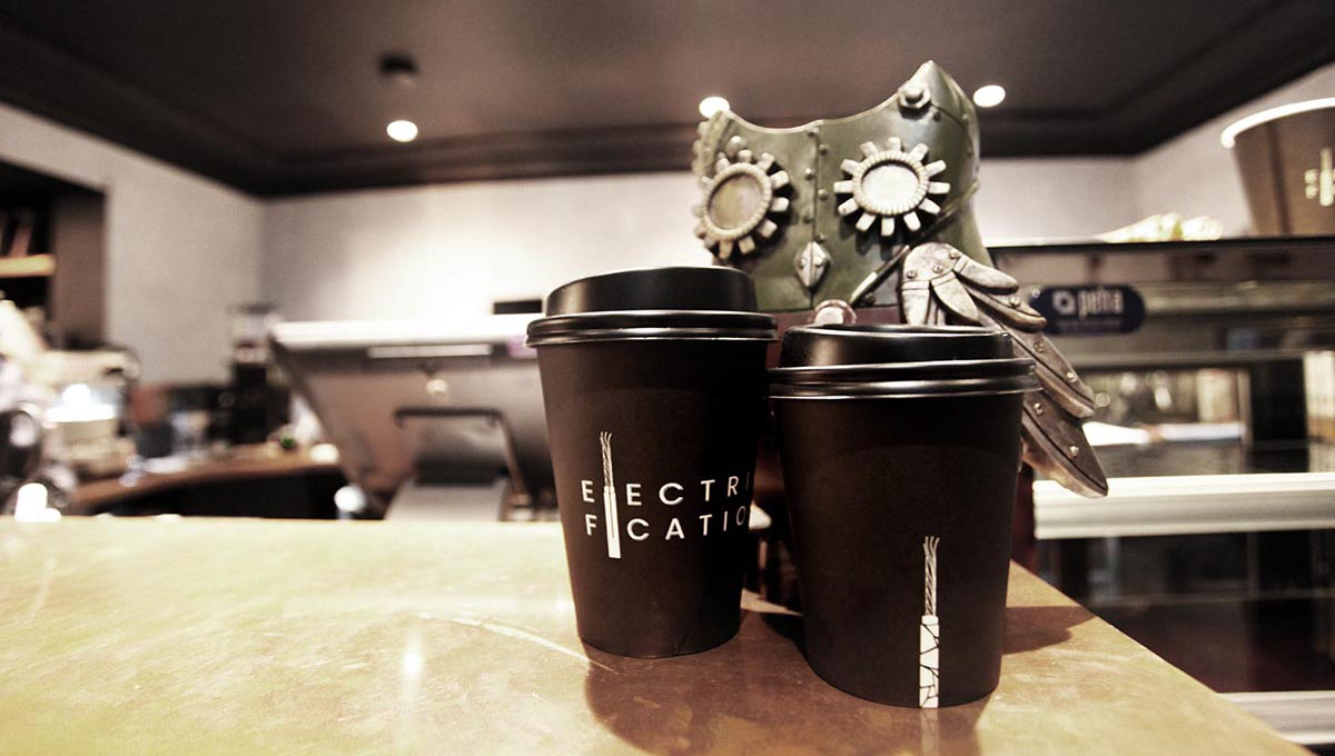 Electrification cafe branding design by Meld - Coffee Cup