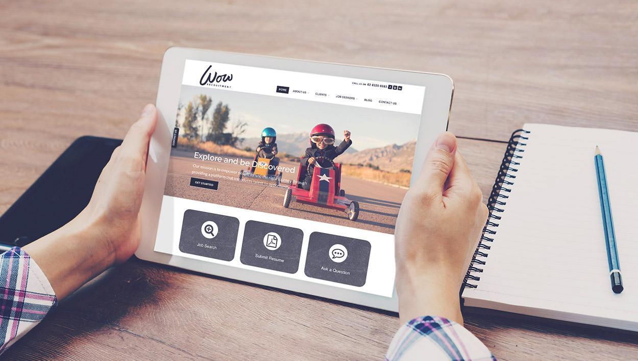Wow Recruitment Tablet Website Design