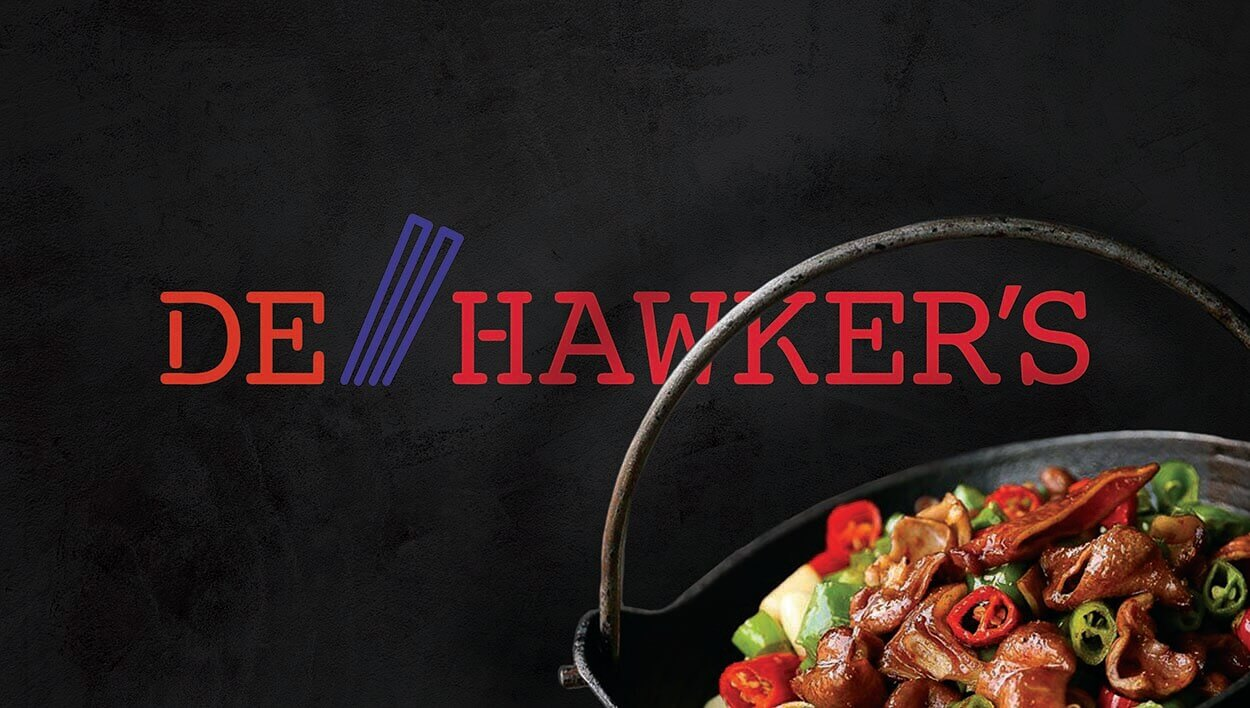 De Hawker's logo with a stir fried Asian dish