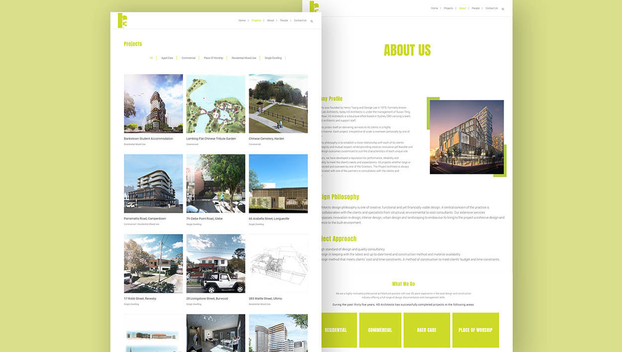 H3 Architects Website Pages Designed by Meld