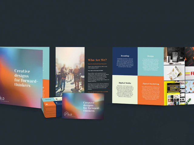 Meld Design and Production branding package including flyers, business cards and posters