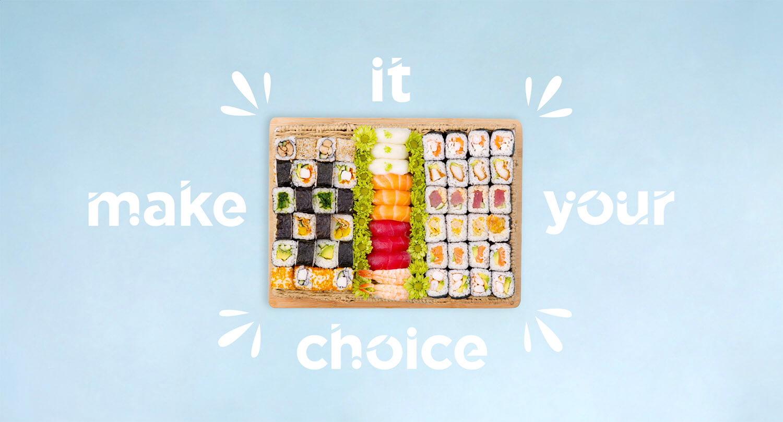 Sushi Hub salad platter on a blue background